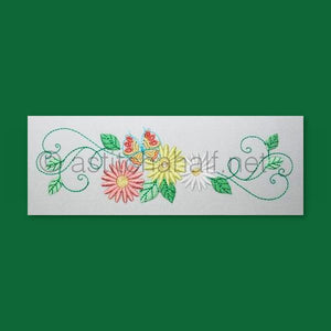 Daisy Border with Butterfly - a-stitch-a-half