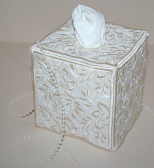 Whispering Roses Square Tissue Box Cover - a-stitch-a-half