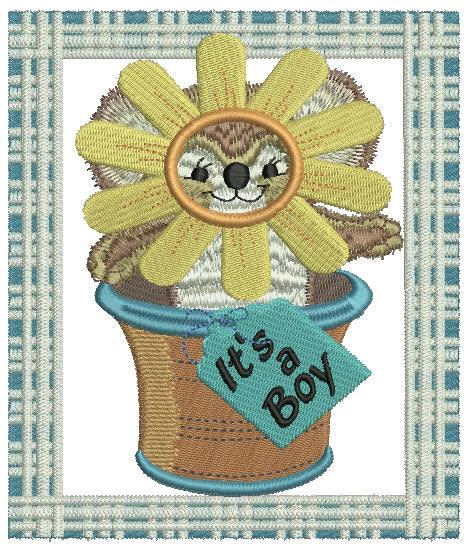 Potted Sunflower Fuzzy Boy - a-stitch-a-half