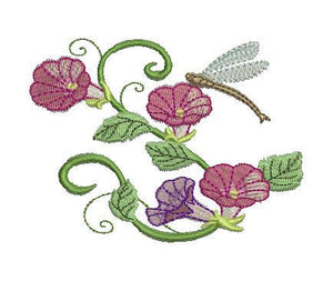 Multi Color Morning Glories and Firefly - a-stitch-a-half