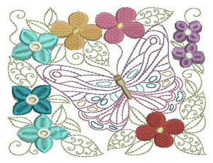 Butterfly and Flowers - a-stitch-a-half