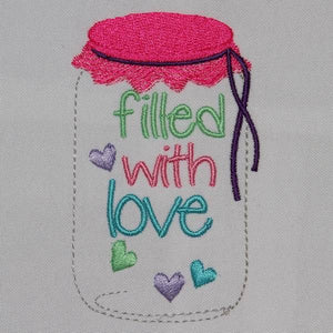 Mason jar with lid filled with love - a-stitch-a-half