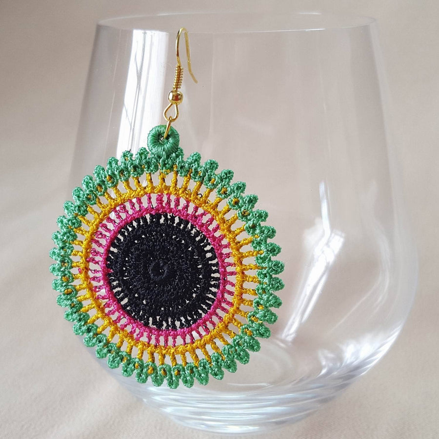 African Hoop Freestanding Lace Earrings - astitchahalf