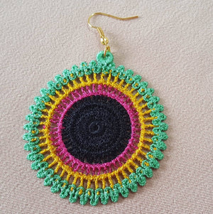 African Hoop Freestanding Lace Earrings - a-stitch-a-half