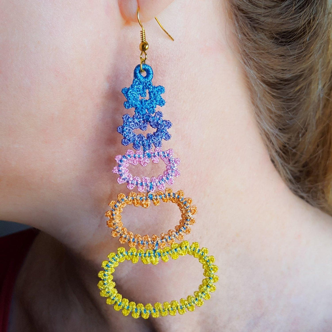 Ombre Brilliance Freestanding Lace Earrings - a-stitch-a-half