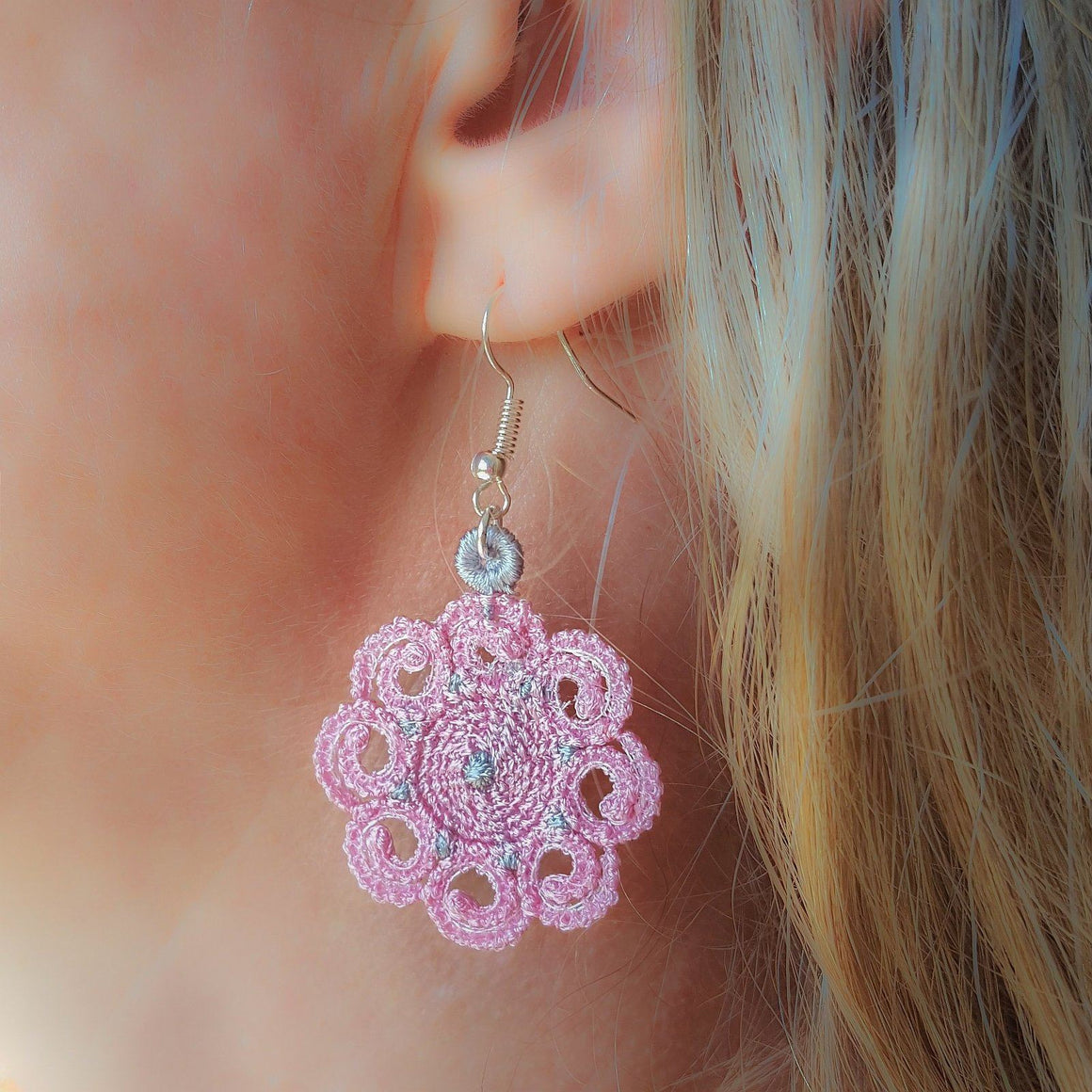 Elizabeth Miniature Freestanding lace Earrings - a-stitch-a-half