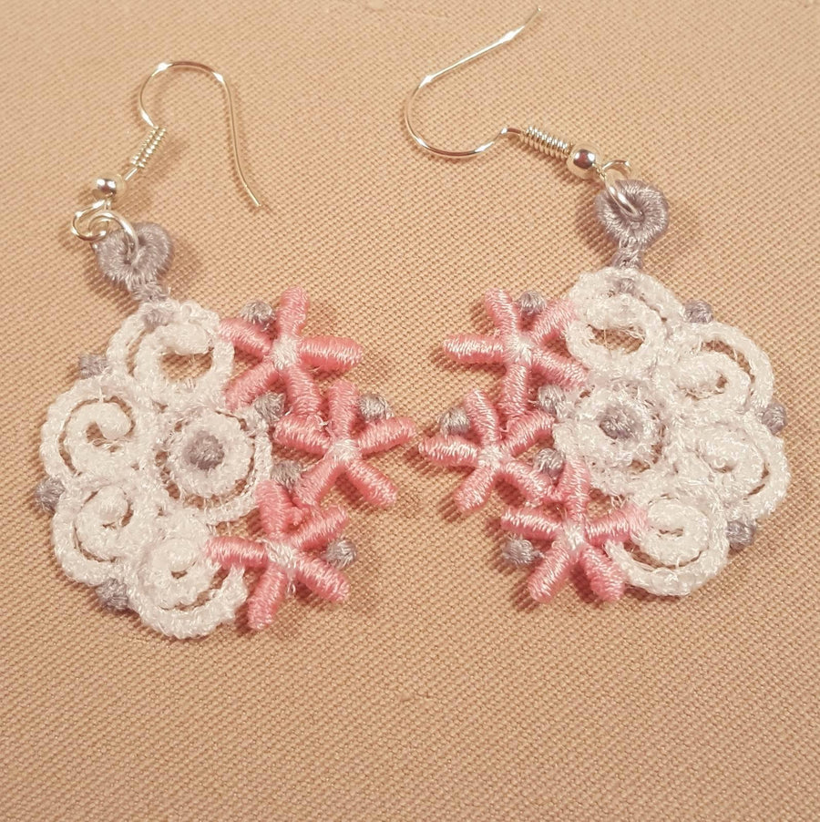 Elora Miniature Freestanding lace Earrings - a-stitch-a-half