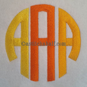 Circle Monogram Letters ABC - a-stitch-a-half