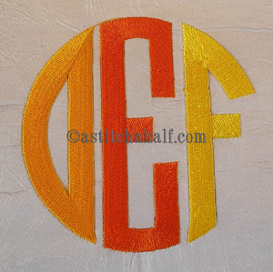 Circle Monogram Letters DEF - astitchahalf