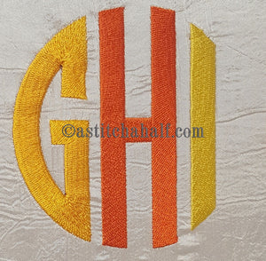 Circle Monogram Letters GHI - a-stitch-a-half