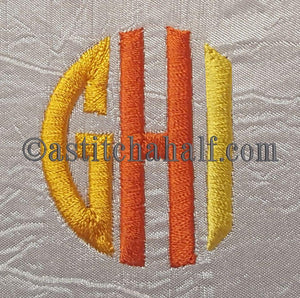 Circle Monogram Letters GHI - astitchahalf