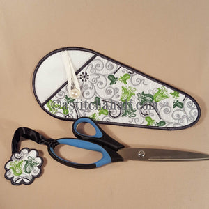 Tiny Bloom and Scissor Case and Fob - a-stitch-a-half