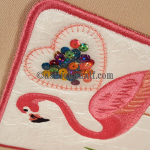 Fun Flamingo Mug Rug - a-stitch-a-half