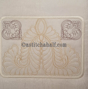 Feather Fountain Mug Rug - a-stitch-a-half
