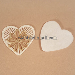 Little Freestanding Lace Motif Heart with Flower - aStitch aHalf