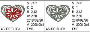Little Freestanding Lace Motif Heart with Flower - a-stitch-a-half