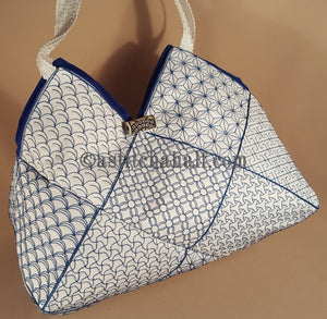 Japanese Sashiko Quilt Blocks and Tote Bag