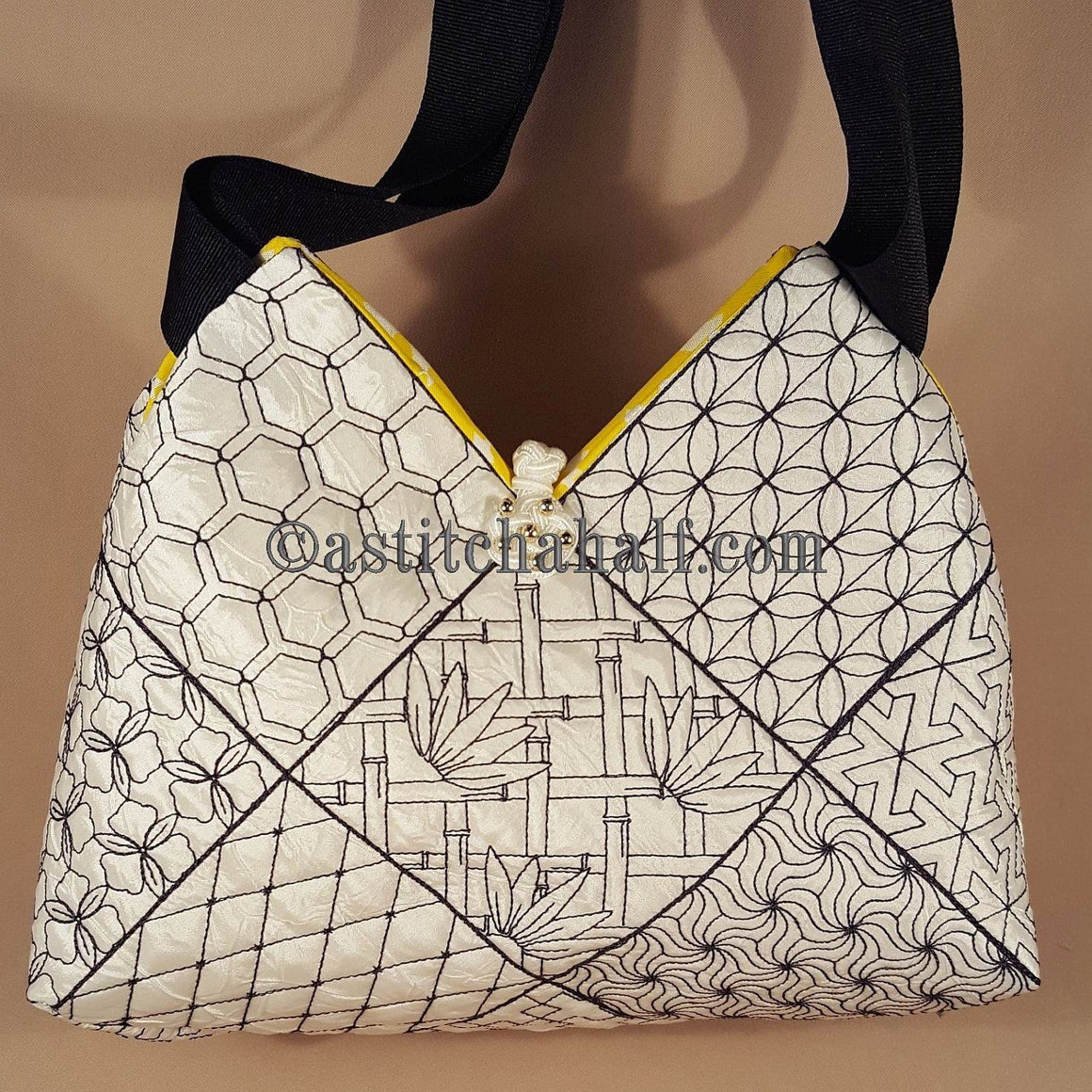 Kikko Sashiko Quilt Blocks and Tote Bag