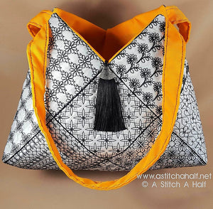 Fiorella Spanish Blackwork Quilt Blocks and Tote Bag - a-stitch-a-half