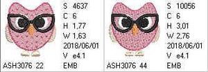 Professor Owl with Glasses - a-stitch-a-half
