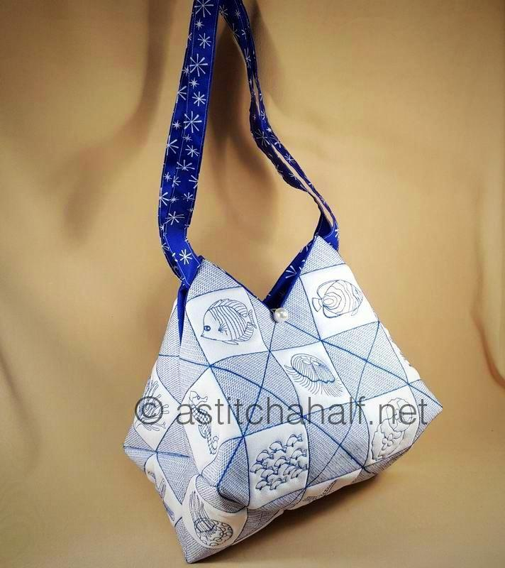 Trapunto Ocean Motion Beach Tote and Quilt Blocks - a-stitch-a-half