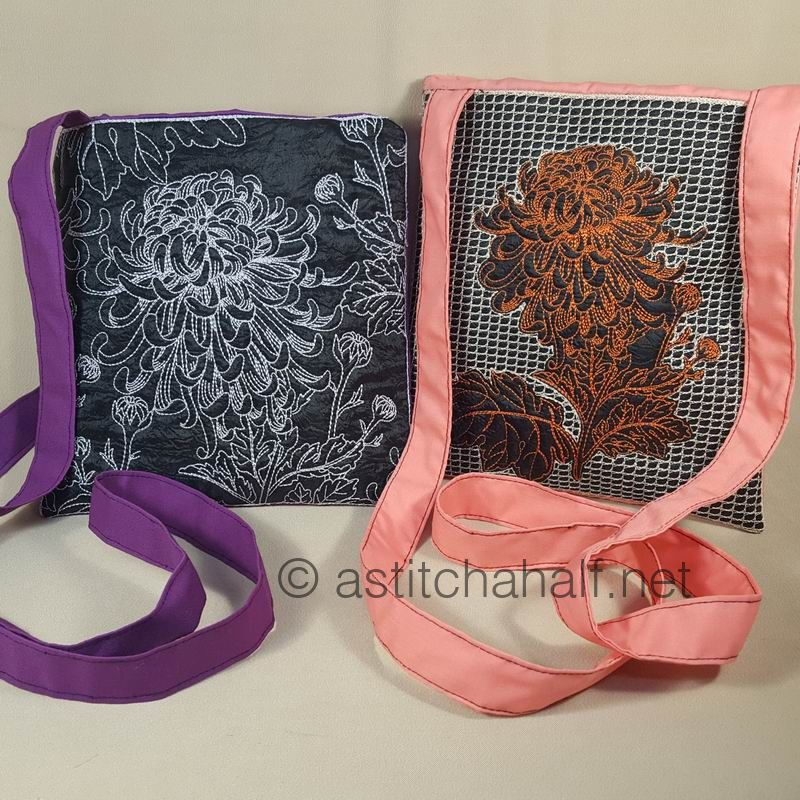Duo Oriental Chrysanthemum Cross Body Bags - a-stitch-a-half