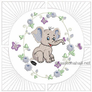 Eli and Ella Baby Elephant Pillow Quilt Combo