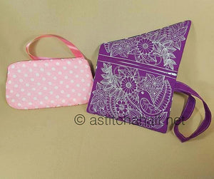 Floral Fold-over Clutch Purse and Wrist Clutch