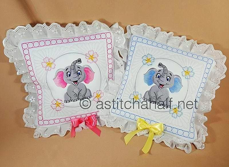 Giggles Baby Elephant Boy and Girl Pillow Quilt Combo