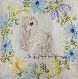 Little Snow Pony and Friend Pillow Quilt Combo
