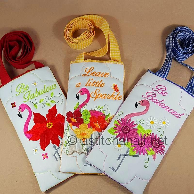 Flamingo Bouquet Cross Body Bags - a-stitch-a-half
