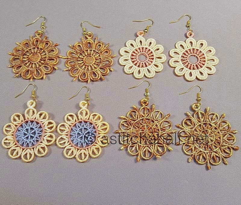 Amandine Freestanding Lace Earrings and Motif - a-stitch-a-half