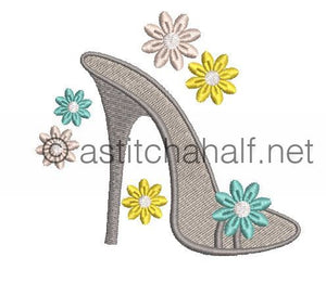 Flowery and Frosty Shoes - a-stitch-a-half