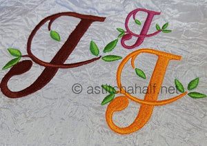 Green Earth Monogram J - a-stitch-a-half