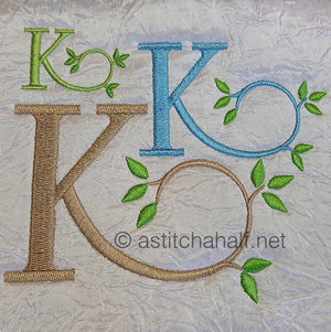Green Earth Monogram K - a-stitch-a-half
