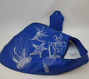 Deep Blue Sea Creatures with Fold and Go Reusable Shopping Bag - a-stitch-a-half