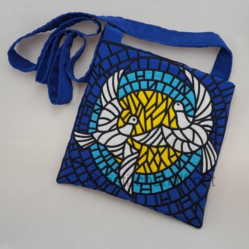 Pair of Doves on Brilliant Stained Glass Cross Body Bags
