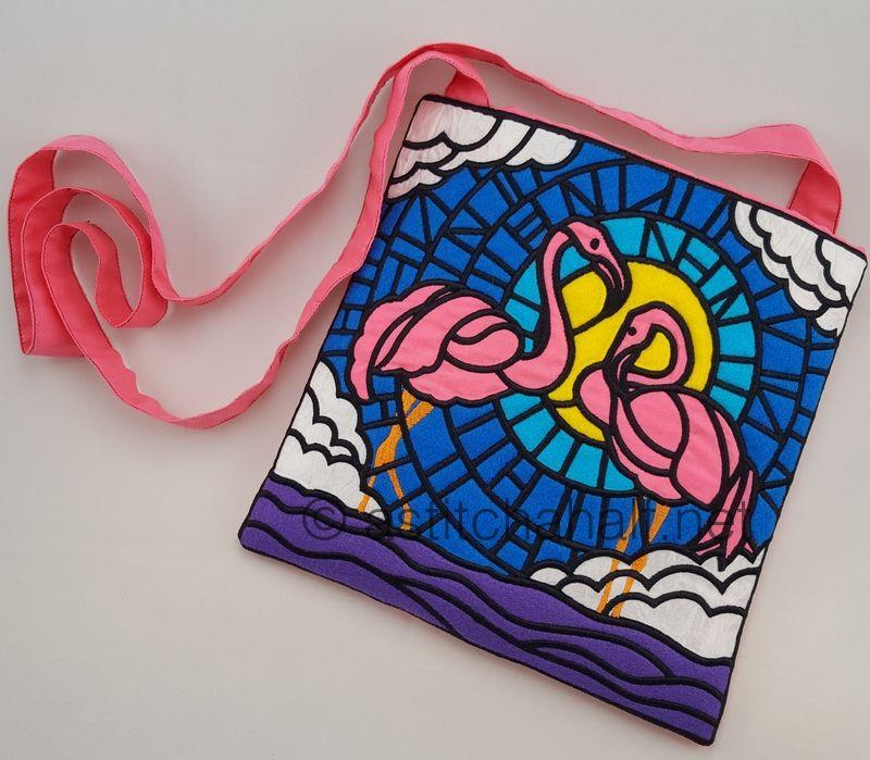 Stained Glass Flamingos Cross Body Bags