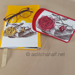 Vintage Roses with Adjustable Book Cover and Eyeglass Case