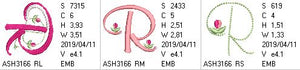Mini Tulip and Pearls Monogram Letters R - a-stitch-a-half