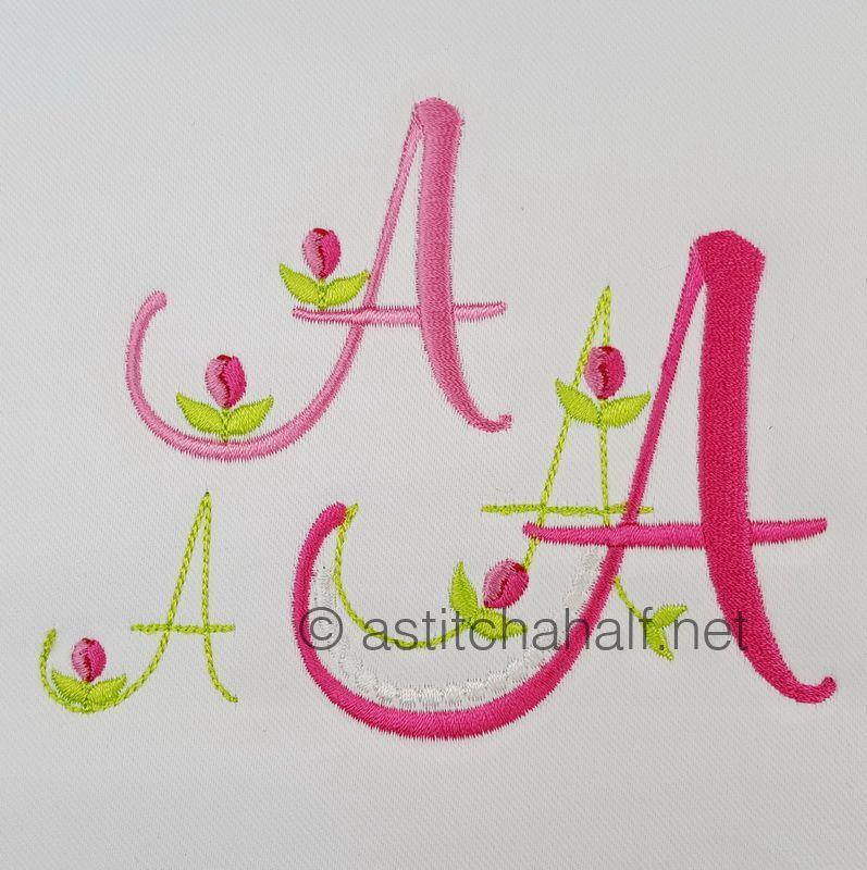 Mini Tulip and Pearls Monogram Letters A