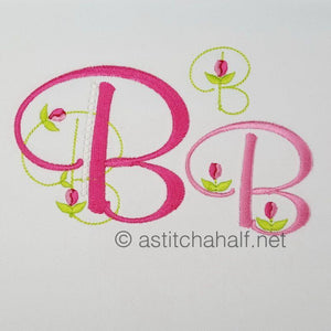 Mini Tulip and Pearls Monogram Letters B - a-stitch-a-half