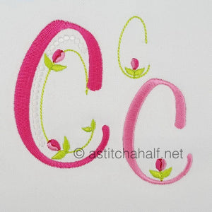 Mini Tulip and Pearls Monogram Letters C - a-stitch-a-half