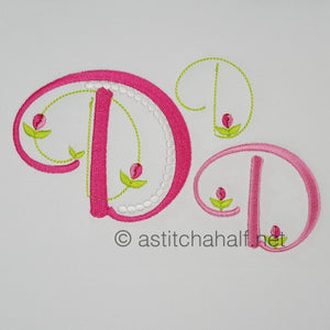 Mini Tulip and Pearls Monogram Letters D - a-stitch-a-half