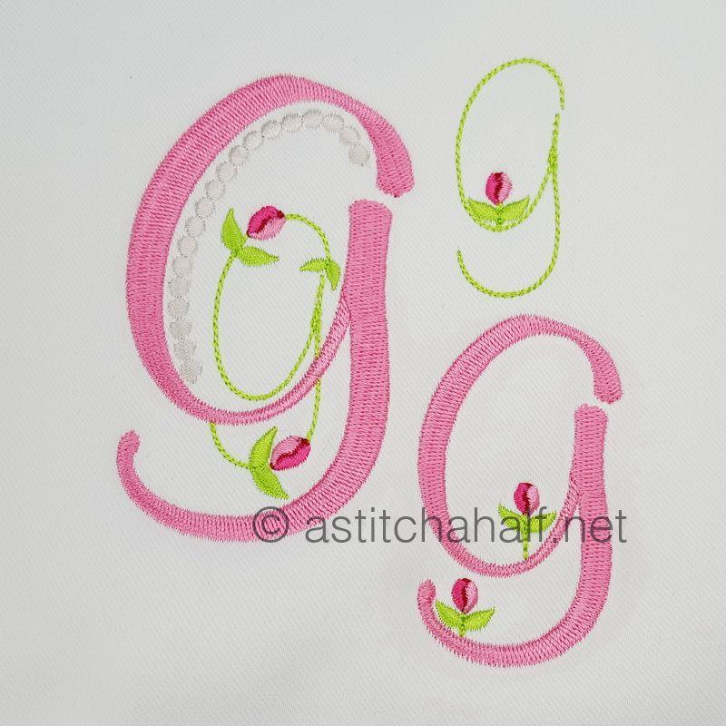 Mini Tulip and Pearls Monogram Letters G
