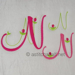 Mini Tulip and Pearls Monogram Letters N - a-stitch-a-half