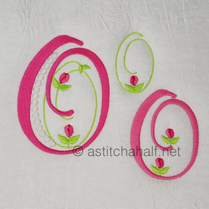 Mini Tulip and Pearls Monogram Letters O - a-stitch-a-half