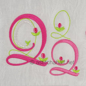 Mini Tulip and Pearls Monogram Letters Q - a-stitch-a-half