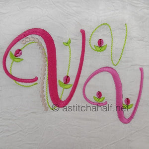 Mini Tulip and Pearls Monogram Letters V - a-stitch-a-half