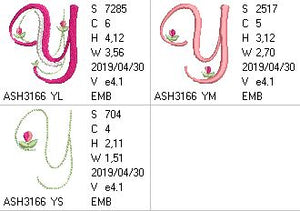 Mini Tulip and Pearls Monogram Letters Y - a-stitch-a-half